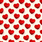 Seamless glossy red heart background pattern Royalty Free Stock Image