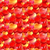 Seamless glossy red heart with water drops background Royalty Free Stock Images