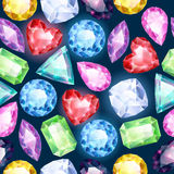 Seamless glowing gemstones background on black. Royalty Free Stock Image