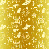 Seamless gold christmas pattern Royalty Free Stock Image