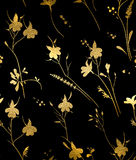 Seamless gold floral pattern on a black background Royalty Free Stock Photo
