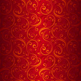 Seamless gold floral pattern on red. Royalty Free Stock Photos