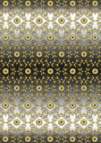 Seamless gold floral pattern on wavy gray black background Stock Photography