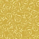 Seamless gold floral swirl pattern. Seamless background pattern of gold spirals with leaves Stock Photography