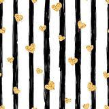 Seamless gold heart pattern. Love illustration. royalty free illustration