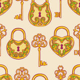Seamless gold keys and locks Stock Photo