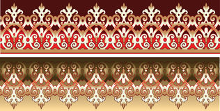 Seamless Gold Lace Ornate On Red Stock Photo