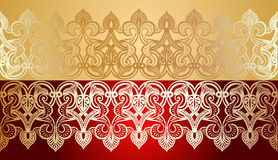Seamless Gold Lace On Red Stock Photos