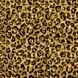 Seamless gold leopard pattern. Shining wild Stock Photos