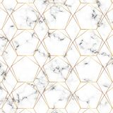 Seamless gold line geometric modern pattern. Background with rhombus, triangles and nodes. Golden texture.Modern minimalist white. Modern minimalist white marble royalty free illustration