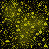 Seamless of gold little flowers with little stars on black backg. Original seamless for your design Royalty Free Stock Photo