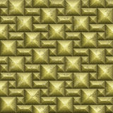 Seamless gold mosaic 3d pattern of squares and rectangles Stock Photography