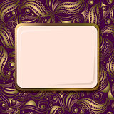 Seamless gold ornament with frame for text Stock Photo