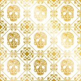 Seamless gold ornament of skulls with flower pattern. stock illustration