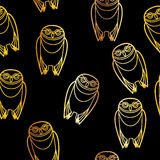 Seamless Gold Owls over Black Stock Images
