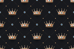 Seamless gold patter and king crown with diamond Royalty Free Stock Photo