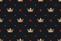 Seamless gold patter and king crown with diamond Royalty Free Stock Photography