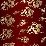 Seamless gold pattern. Seamless chinese gold dragon on brown pattern stock illustration