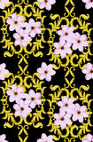 Seamless Gold Pattern with Cherry Blossom Stock Images