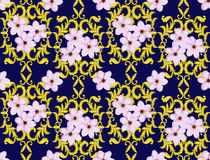 Seamless Gold Pattern with Cherry Blossom Royalty Free Stock Photo