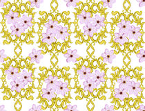 Seamless Gold Pattern with Cherry Blossom Stock Photo