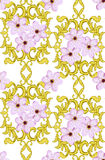 Seamless Gold Pattern with Cherry Blossom Royalty Free Stock Image
