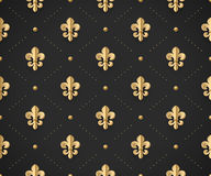 Seamless gold pattern with fleur-de-lys on a dark black background. Vector Illustration. Stock Image
