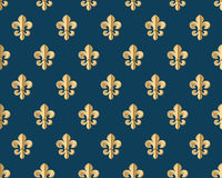 Seamless gold pattern with fleur-de-lys on a dark blue background. Vector Illustration. Royalty Free Stock Images