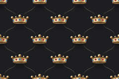 Seamless gold pattern with king crown with diamond on a dark black background. Vector Illustration. Stock Photography