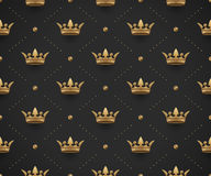 Seamless gold pattern with king crowns on a dark black background. Vector Illustration. Stock Photography