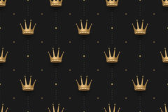 Seamless gold pattern with king crowns on a dark black background. Vector illustration. Royalty Free Stock Photo