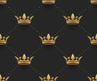 Seamless gold pattern with king crowns on a dark black background. Vector Illustration. Stock Photos