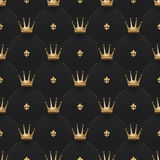 Seamless gold pattern with king crowns and fleur-de-lys on a dark black background. Vector illustration. Stock Image
