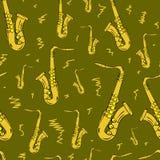 Seamless gold saxophones Stock Image