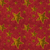 Seamless Gold Stars on Deep Red Royalty Free Stock Images