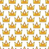 Seamless gold white crown pattern background Stock Image