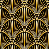 Seamless golden Art Deco pattern with abstract shells.  Stock Photos