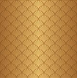 Seamless golden Art Deco shell pattern background. Seamless golden Art Deco shell feather leaf pattern background wallpaper Vector Illustration