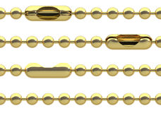 Seamless golden chain. Seamless golden ball chain with lock isolated on white background. Fashion jewelry. Endless divider, border, frame. 3D illustration Royalty Free Stock Photo