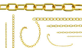 Seamless golden chains isolated over white background for contin Royalty Free Stock Image