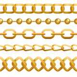 Seamless golden chains template Stock Images
