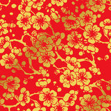 Seamless Golden Chinese Background Cross Plum Blossom Royalty Free Stock Image