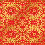 Seamless Golden Chinese Background Curve Round Cross flower Kaleidoscope. Can be used for both print and web page Stock Image