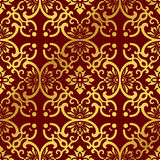 Seamless Golden Chinese Background Round Curve Cross Frame Flower Stock Photo