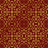 Seamless Golden Chinese Background Spiral Curve Cross Kaleidoscope Royalty Free Stock Images