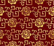 Seamless Golden Chinese Background Spiral Geometry Vine Flower Royalty Free Stock Photos