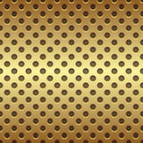 Seamless golden circle perforated panel. Background Stock Image