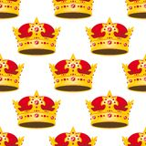 Seamless golden crowns with gems pattern Royalty Free Stock Photos