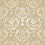 Seamless golden floral damask wallpaper. Stock Image
