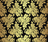 Seamless golden floral Pattern on black. Stock Images